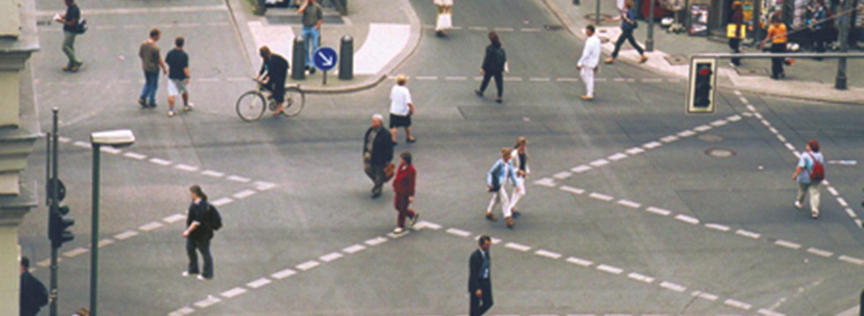 A diagonal crossing in the Friedrichshain-Kreuzberg district of Berlin